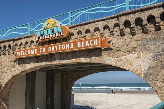 USA, Florida, Daytona Beach, Welcome sign to Main Street Pier.-Lisa S^ Engelbrecht-Photographic Print