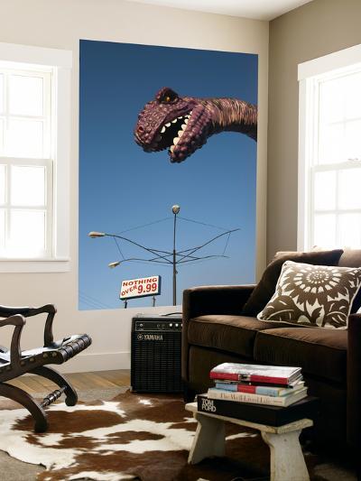 USA, Florida, Florida Panhandle, Panama City Beach, Dinosaur Statue at Miniature Golf Course-Walter Bibikow-Wall Mural