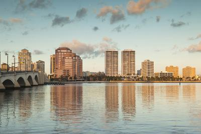 USA, Florida, West Palm Beach, City View with Royal Park Bridge, Dawn-Walter Bibikow-Photographic Print