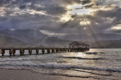 USA, Hawaii, Maui, Hanalei, Hanalei Pier at Sunset-Terry Eggers-Photographic Print