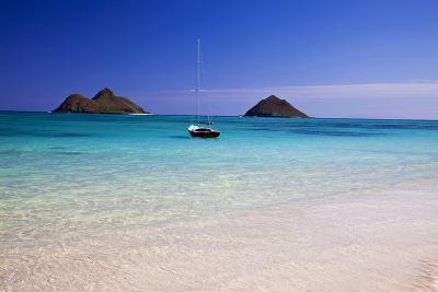 USA, Hawaii, Oahu, Sail Boat at Anchor in Blue Water with Swimmer-Terry Eggers-Photographic Print