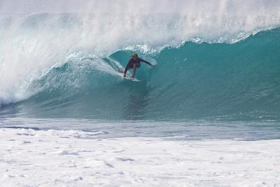 USA, Hawaii, Oahu, Surfers in Action at the Pipeline-Terry Eggers-Photographic Print
