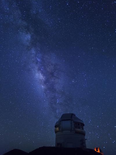 USA, Hawaii, the Big Island, Mauna Kea Observatory (4200m), Gemini Northern Telescope and Milky Way-Michele Falzone-Photographic Print