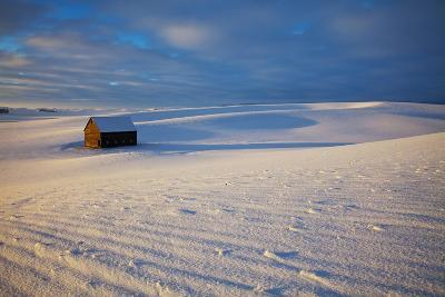 USA, Idaho, Small Barn in Snow Covered Field-Terry Eggers-Photographic Print