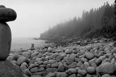 USA, Maine, Acadia National Park, Cairn on the Rocky Beach