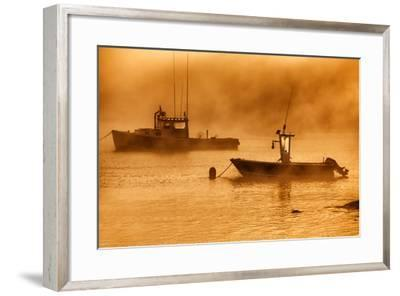 USA, Maine, Lobster Boats in Morning Fog at Bass Harbor-Joanne Wells-Framed Photographic Print