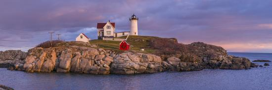 USA, Maine, York Beach, Nubble Light Lighthouse with Christmas decorations, dusk-Walter Bibikw-Photographic Print