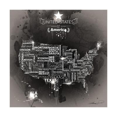 USA Map EBONY-Mikael B.-Art Print