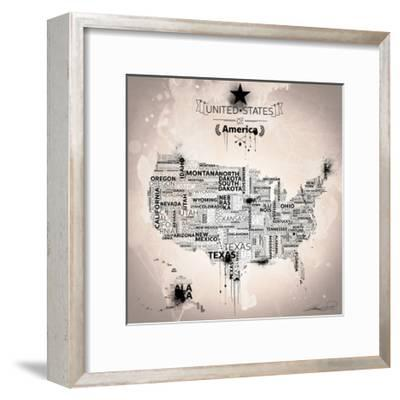 USA Map IVORY-Mikael B.-Framed Art Print