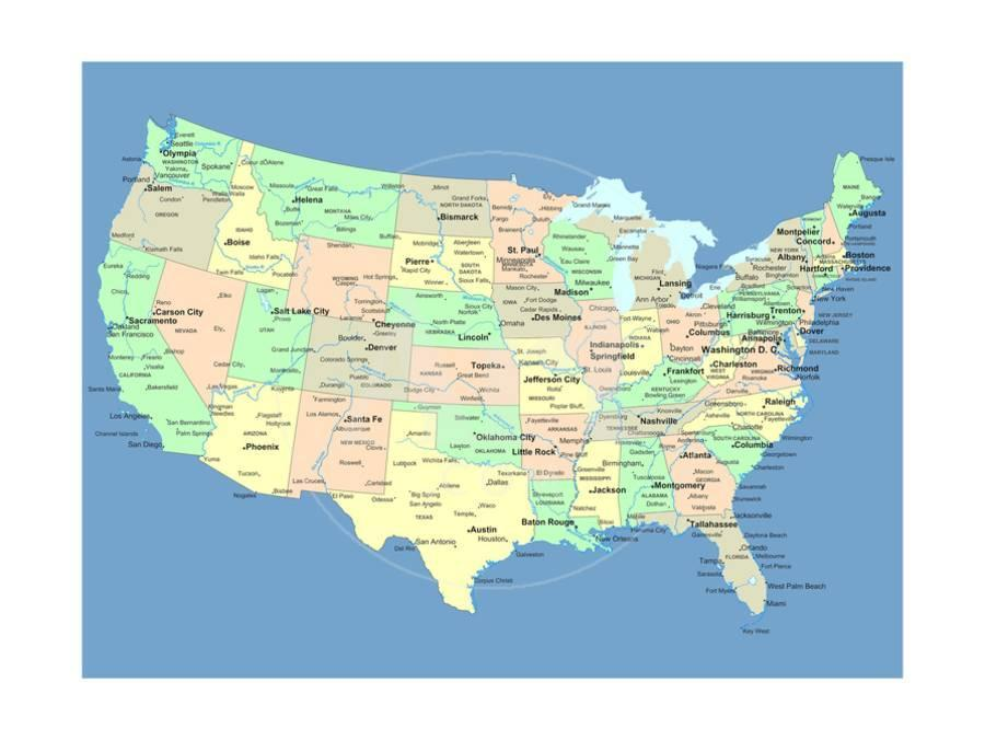 Usa Map With Names Of States And Cities Art Print by IndianSummer ...