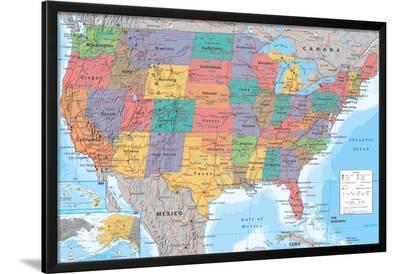 USA Map--Lamina Framed Poster