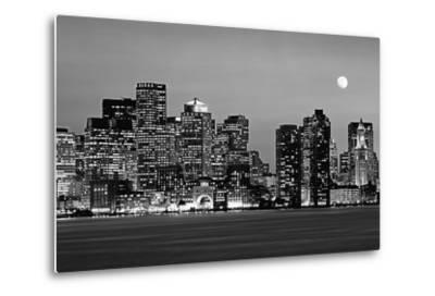 USA, Massachusetts, Boston, Panoramic view of a city skyline at night (Black And White)