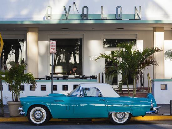 USA, Miami Beach, South Beach, Ocean Drive, Avalon Hotel and 1957 Thunderbird Car-Walter Bibikow-Photographic Print