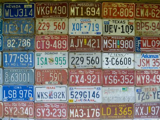 USA, Missouri, Route 66, Near Carthage, Car Number Plates-Alan Copson-Photographic Print
