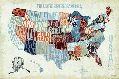 USA Modern Blue-Michael Mullan-Art Print