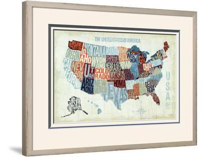 USA Modern Blue-Michael Mullan-Framed Art Print