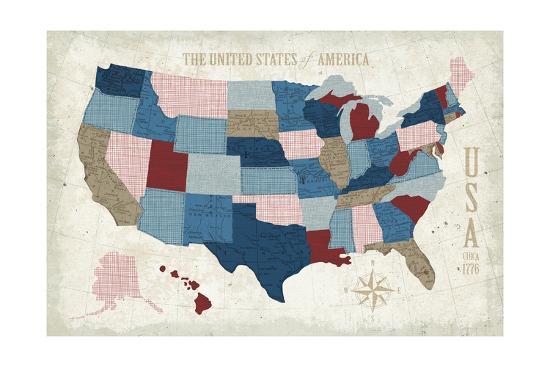 USA Modern Vintage Blue-Michael Mullan-Art Print