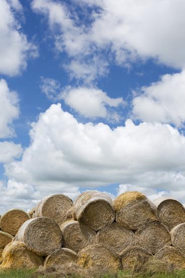USA, Montana, Garfield County, Big sky country, and hay bales.-Jamie & Judy Wild-Photographic Print