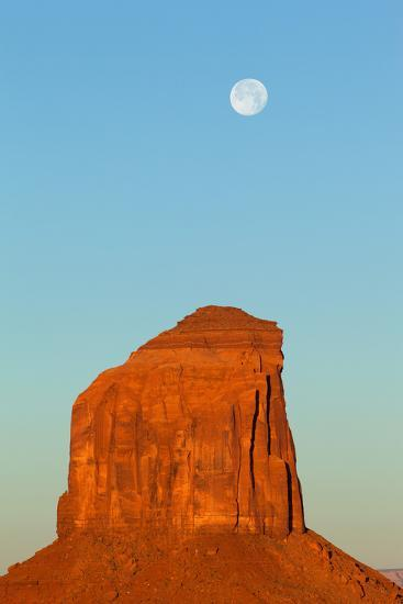 USA, Monument Valley, Rock and Full Moon-Catharina Lux-Photographic Print