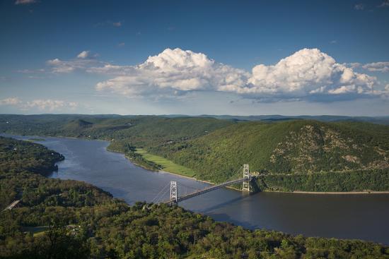 USA, New York, Bear Mountain State Park. elevated view of the Bear Mountain Bridge-Walter Bibikow-Photographic Print