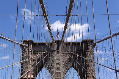 USA, New York City, Manhattan, Brooklyn Bridge, Bridge Pillar, Steel Ropes-Catharina Lux-Photographic Print