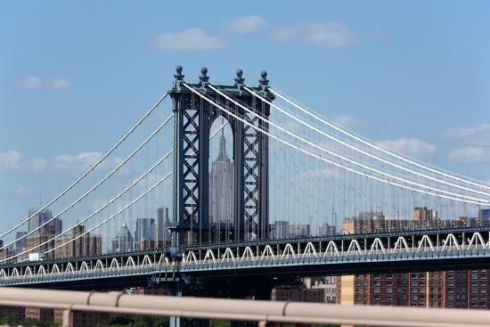USA, New York City, Manhattan, Manhattan Bridge and Skyline, View from Brooklyn Bridge-Catharina Lux-Photographic Print