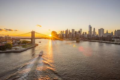 Usa, New York, Lower Manhattan Skyline and Brooklyn Bridge over East River at Sunset-Alan Copson-Photographic Print