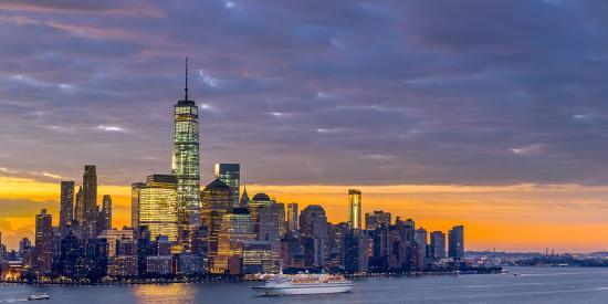 USA, New York, Manhattan, Lower Manhattan and World Trade Center, Freedom Tower across Hudson River-Alan Copson-Photographic Print