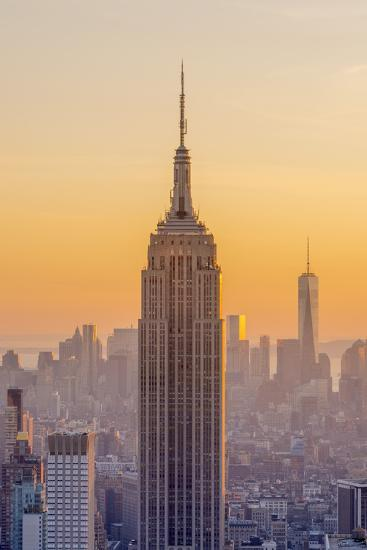 Usa, New York, Midtown and Lower Manhattan, Empire State Building and Freedom Tower-Alan Copson-Photographic Print