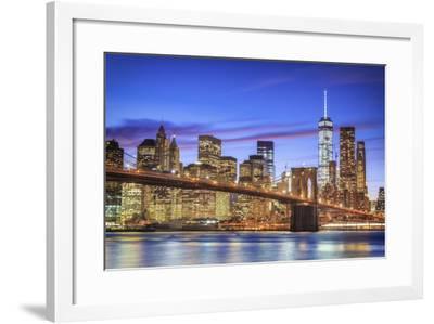 Usa, New York, New York City, Lower Manhattan and Brooklyn Bridge-Michele Falzone-Framed Photographic Print
