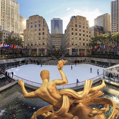 Usa, New York, New York City, Manhattan, Rockefeller Center, Ice Rink-Michele Falzone-Photographic Print