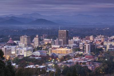 USA, North Carolina, Asheville, Elevated City Skyline-Walter Bibikow-Photographic Print