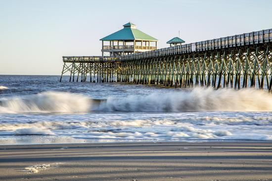 USA, North Carolina. Folly Beach, Surf at the Pier on the Beach-Hollice Looney-Premium Photographic Print