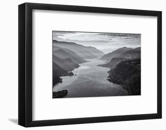 USA, Oregon, Aerial Landscape Looking West Down the Columbia Gorge-Rick A Brown-Framed Photographic Print