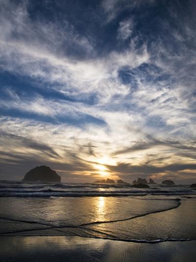 USA, Oregon, Bandon Beach. Face Rock and Sea Stacks at Twilight-Jaynes Gallery-Photographic Print