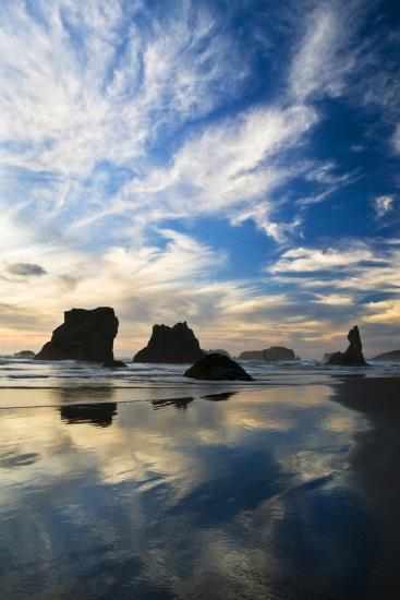 USA, Oregon, Bandon Beach. Sea Stacks at Twilight-Jaynes Gallery-Photographic Print