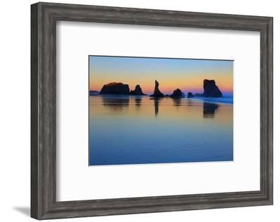 USA, Oregon, Bandon. Sunset on beach sea stacks.-Jaynes Gallery-Framed Photographic Print
