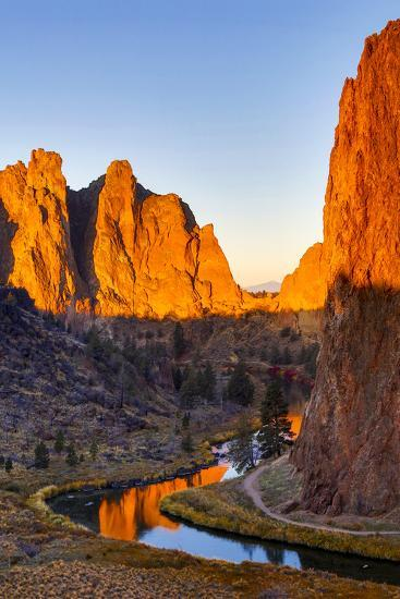 USA, Oregon, Bend. Smith Rock State Park, rock and reflections-Hollice Looney-Premium Photographic Print
