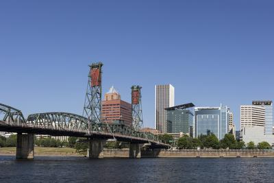USA, Oregon, Portland. Downtown and the Hawthorne Bridge-Brent Bergherm-Photographic Print