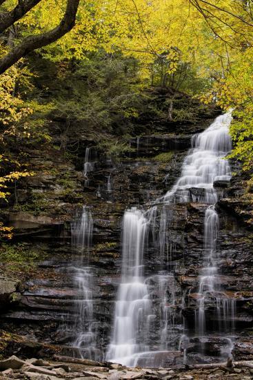USA, Pennsylvania, Benton. Waterfall in Ricketts Glen State Park-Jay O'brien-Photographic Print