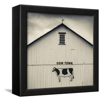 USA, Pennsylvania, Dutch Country, Smoketown, Barn with Cow Art-Walter Bibikow-Framed Premier Image Canvas