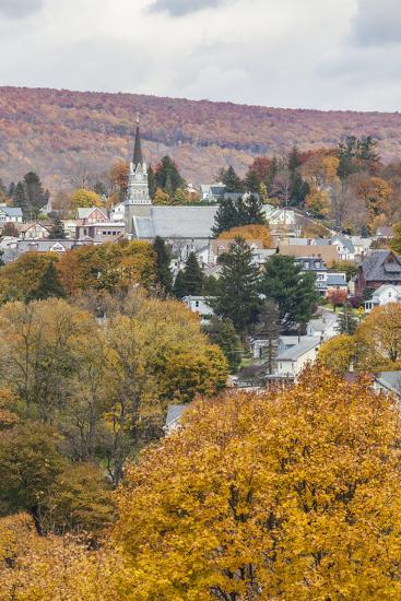 USA, Pennsylvania, Jim Thorpe, elevated town view-Walter Bibikow-Photographic Print