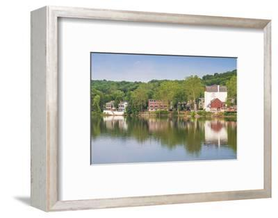 USA, Pennsylvania, New Hope. town view from the Delaware River-Walter Bibikow-Framed Photographic Print