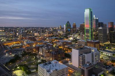 USA, Texas, Dallas. Overview of downtown Dallas from Reunion Tower at night.-Brent Bergherm-Framed Photographic Print