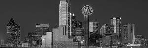 USA, Texas, Dallas, Panoramic view of an urban skyline at night BW, Black and White