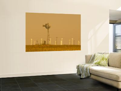 USA, Texas, Near Amarillo, Route 66, Old Windpump and Modern Wind Turbines-Alan Copson-Giant Art Print