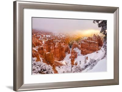 USA, Utah, Bryce Canyon National Park. Panoramic View of Sunrise Peeking Through the Fog and Cloud-Ann Collins-Framed Photographic Print