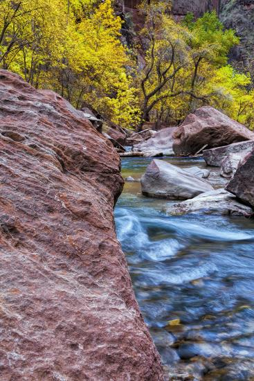 USA, Utah, Zion National Park. Stream in Autumn Landscape-Jay O'brien-Photographic Print