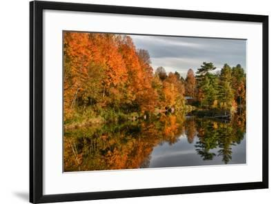 USA, Vermont, Morrisville. Lake Lamoille Reflecting Fall Foliage-Bill Bachmann-Framed Photographic Print