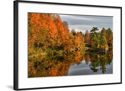 USA, Vermont, Morrisville. Lake Lamoille Reflecting Fall Foliage-Bill Bachmann-Framed Photographic Print